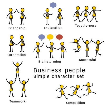 Character set of Business people at work concept. Simple design.