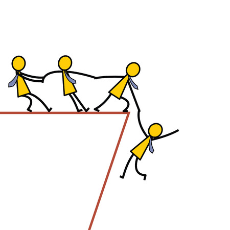 pull up: Businessman teamwork holding hands trying to pull up another friend who falling from abyss. Business concept in helping and supportive team. Simple character design.