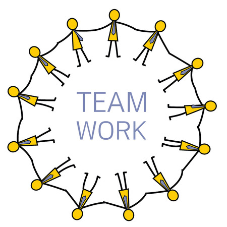 sociable: Group of businessman holding hands in a circle, abstract vector illustration in teamwork concept. Simple character in stick man design. Illustration