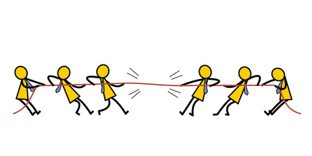 Group of businessman pulling rope, tug of war, in business competitive concept. Simple character design in stick man style. Vector