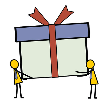 giving gift: Man giving a present or gift box to another person. Simple character design in stick man style.