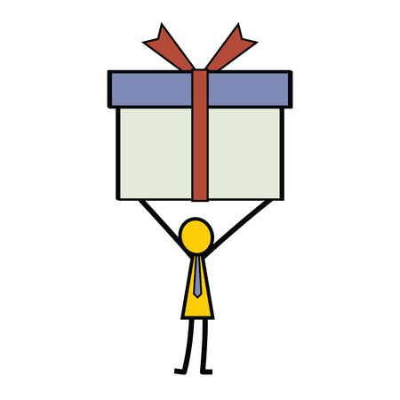 catoon: Simple character of businessman in stick man style holding gift box.