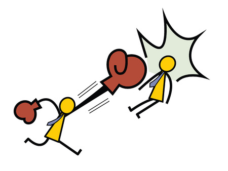 Angry business people beating another with boxing gloves. Aggressive feeling and emotional concept. Simple character design in stick man style.