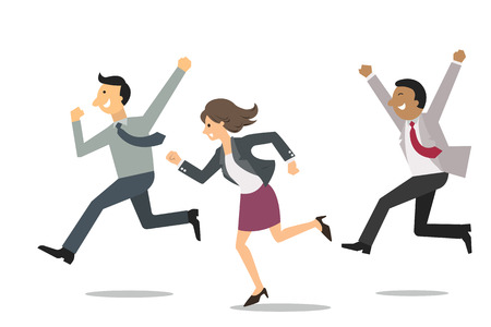 corriendo: Hombres de negocios confidentes que se ejecutan en la misma direcci�n con la expresi�n feliz y alegre. Concepto de negocio en ganar y equipo exitoso. Vectores