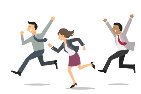 vzrušený: Přesvědčen, obchodní lidé běží na stejném směru se šťastný a veselý výraz. Podnikatelský záměr na vítězství a úspěšného týmu. Ilustrace