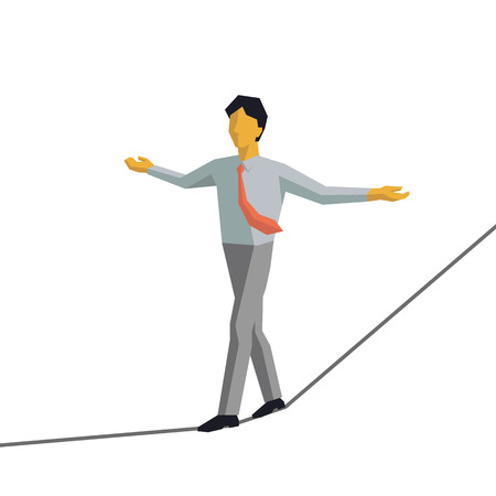 himself: Businessman walking on rope and keep himself balance. Vector illustration character design in cubic and simple style.