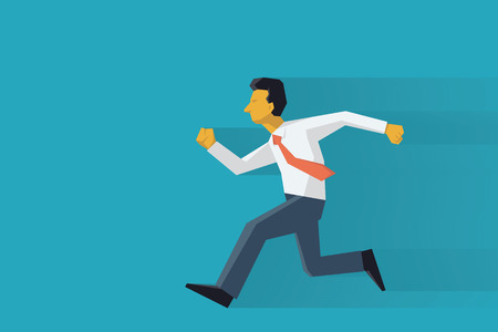 running fast: Businessman running forward. Abstract vector illustration character in flat design with long shadow. Illustration
