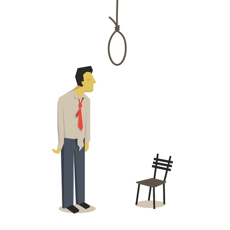 economic depression: Failure businessman thinking and considering to commit suicide with hanging rope.
