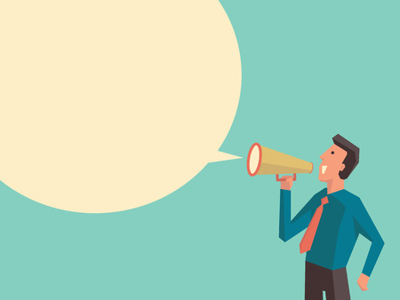 loud speaker: Business man speaking through megaphone with speech bubble for your text or your design. Flat design with cubic style for character of woman.