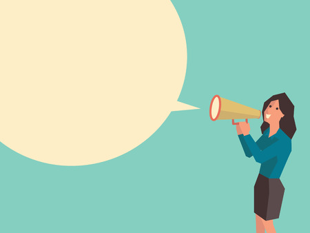 Business woman speaking through megaphone with speech bubble for your text or your design. Flat design with cubic style for character of woman.
