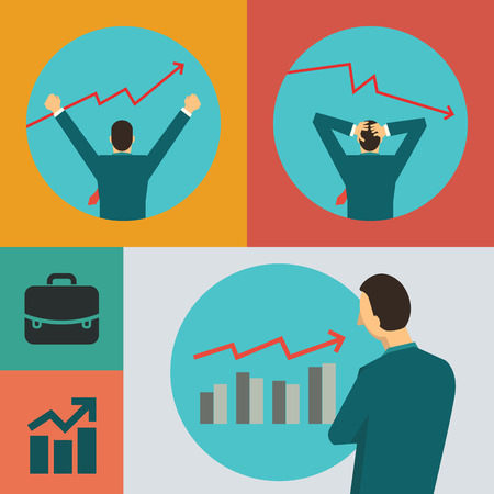stock trader: Flat dedign vector illustration of business concept in stock marekt with character of businessman.