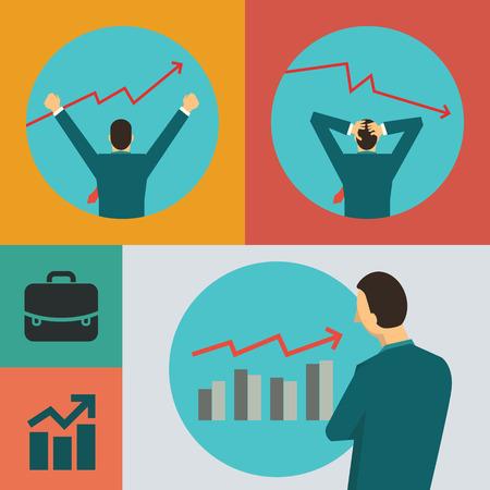 perdidas y ganancias: Ilustración plana dedign vector de concepto de negocio en stock marekt con carácter de hombre de negocios.
