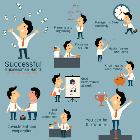 an achievement: Set of successful businessman habits, various poses and many gestures. Cute character businessman with flat design style.