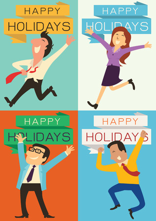 Set van mensen uit het bedrijfsleven, man, vrouw, en de baas, het verhogen van handen met blije emotie voor het hebben en vakantie te vieren. Elk stuk is in de verhouding van A4-formaat.