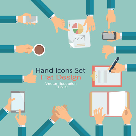 hand holding smart phone: Flat design of hand icons set. Business concept of hand in many characters, presenting, showing, using tablet and smart phone, writing, thumb up and down, open book, applauding, and holding coffee.