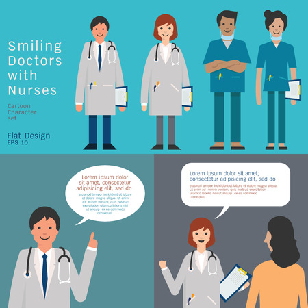 Set of medical team, doctors and nurse. And doctors giving advice and consultant. Simple character with flat design. Vector