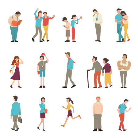 People in various lifestyles, businessman, woman, teenager, traveller, friends, sport woman, hip hop guy, senior couple, lovers. Character set with flat design style. Иллюстрация