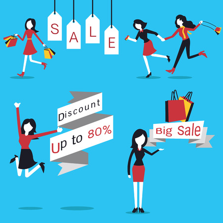 Woman in action of going shopping, carrying shopping bag, jumping with discount price banner, and presenting big sale. Simple character with flat design.