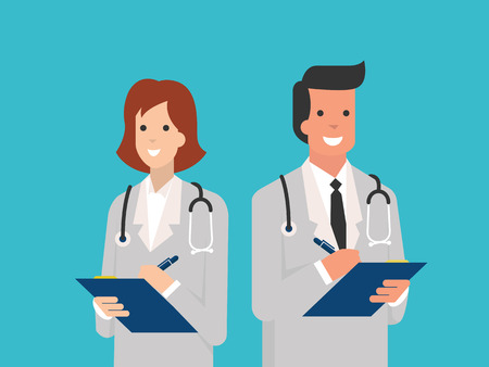 occupation cartoon: Smiling male and female doctors with clipboard in doctor giving advice concept. Flat design.