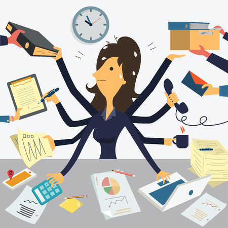 cartoon clock: Businesswoman working with eight hands, representing to very busy business concept. Illustration
