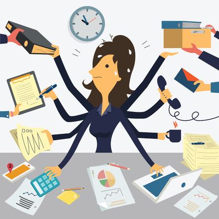 Zakenvrouw werken met acht handen, wat neerkomt op zeer drukke business concept.