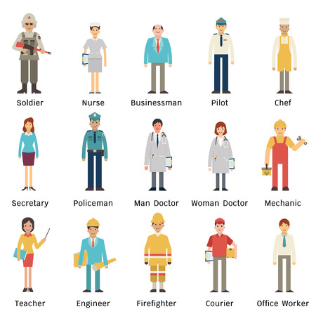 Cartoon character set of people in various occupations. Full length, isolated on white with flat design. Ilustração