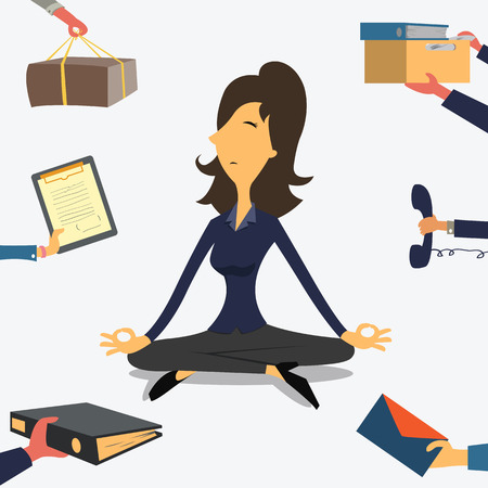 worker cartoon: Businesswoman doing Yoga to calm down the stressful emotion from multi-tasking and very busy working. Illustration