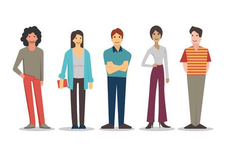 Personajes de dibujos animados de los jóvenes en diferentes estilos de vida, de pie y sonriendo en vestidos casuales. Diseño plano, aislado en blanco.