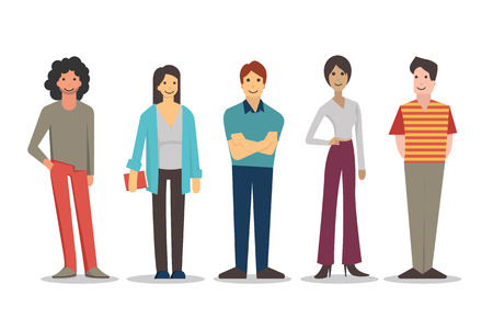 personas de pie: Personajes de dibujos animados de los j�venes en diferentes estilos de vida, de pie y sonriendo en vestidos casuales. Dise�o plano, aislado en blanco.