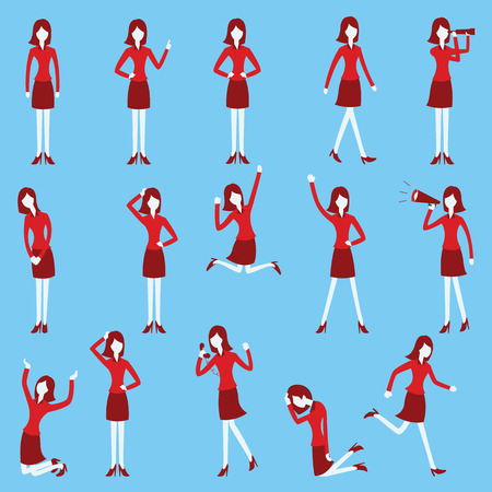 behaviour: Cartoon character set of businesswoman in various poses, trendy flat design with simple style.