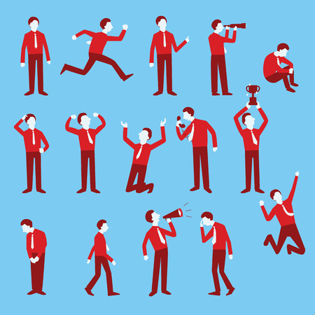 Cartoon character set of businessman in various poses, trendy flat design with simple style. Illustration