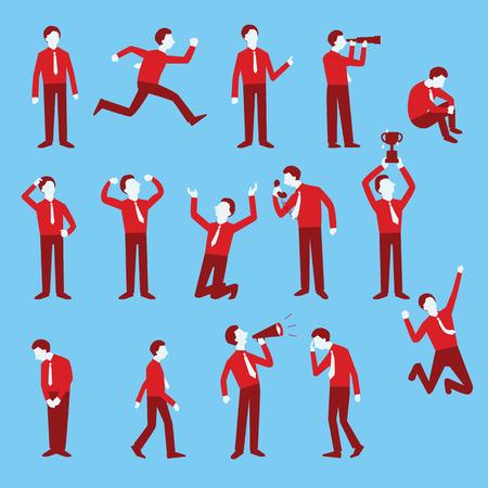uomo felice: Personaggio dei cartoni animati set di uomo d'affari in varie pose, design piatto alla moda con stile semplice.