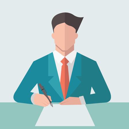 firmando: Signo papel Empresario contrato comercial. Diseño plano.
