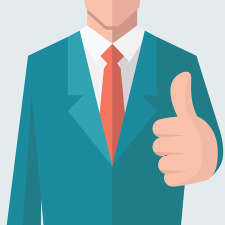 confidence: Business man give thumb up sign. There is full head of character in clipping mask layer. Flat design.
