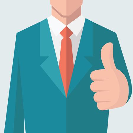 hombres ejecutivos: Hombre de negocios que da el pulgar para arriba signo. Hay plena cabeza del personaje de recorte de capa máscara. Diseño plano.