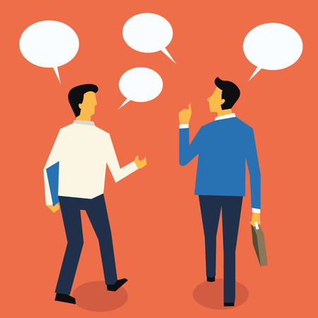 friends talking: Businesspeople walking and talking for exchanging idea. Flat design.