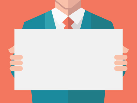 Businessman, in suit man, holding blank banner. Flat design with full head of character in clipping mask layer.