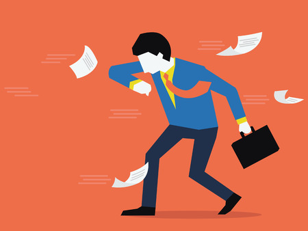 office documents: Businessman try to stand against the strong wind, business concept in facing problem. Flat design. Illustration