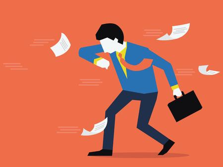 documentos: Hombre de negocios tratan de estar en contra de la fuerza del viento, concepto de negocio para hacer frente a un problema. Dise�o plano.