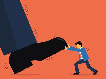 pull up: Uomo d'affari cerca di tirare su l'uomo gigante Vettoriali