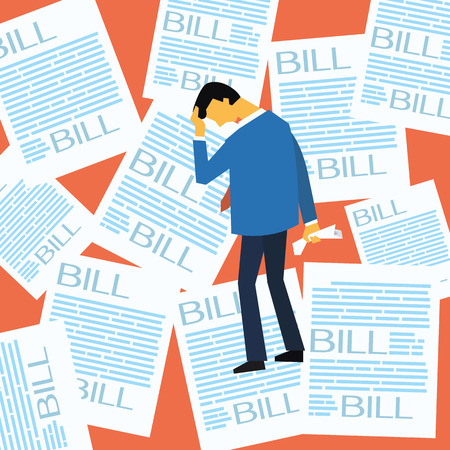 hopeless: Businessman stressed and worried with a lot of bill paper background, flat design.