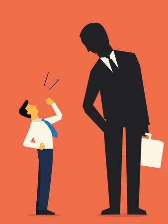 big business: Desaf�o del hombre de negocios traje gigante hombre, ilustraci�n abstracta que representa a peque�os empresarios chalenging a las grandes empresas. Dise�o plano.