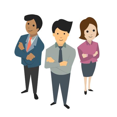 ビジネスマン、男と女、チームワークの概念に一緒に立っている鳥します。