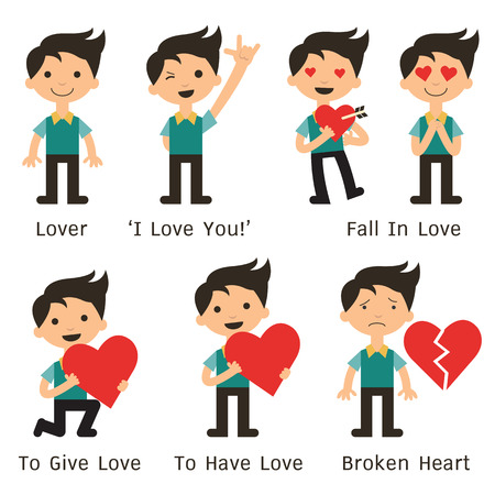 Character of man in various poses about love, fall in love, making hand sign Vettoriali