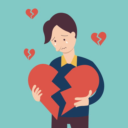 Sad man holding broken heart shape in concept of being broken heart. Иллюстрация