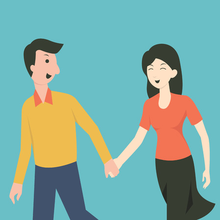 couple together: Cartoon character of happy man and woman walking and holding hands, being good relationship concept.
