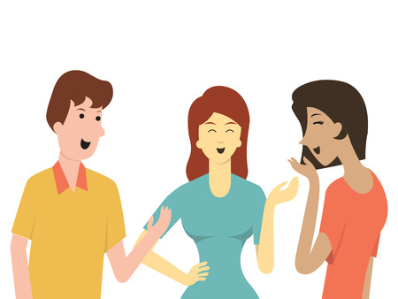 Cartoon character of friends, man and woman, talking together in social communication concept. Illustration