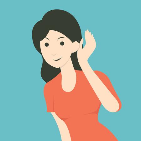 Cartoon character of woman listening to gossip or hearing news. Flat design.