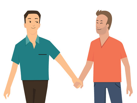 walking away: Cartoon character of gay smiling and holding hand walking away, homosexual romantic couple concept. Illustration