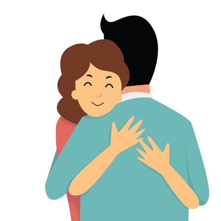 Cartoon character of woman embrace her lover in arms, relationship concept.